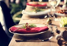 Концепция обеденного стола семьи рождества Стоковая Фотография RF
