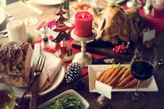 Концепция обеденного стола семьи рождества Стоковое Изображение RF