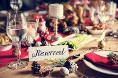 Концепция обеденного стола семьи рождества Стоковое фото RF