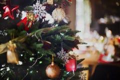 Концепция обеденного стола семьи рождества Стоковые Фото