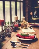 Концепция обеденного стола семьи рождества Стоковое Фото