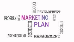 Концепция облака слова маркетингового плана на белой предпосылке сток-видео