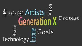 Концепция облака слова поколения x с большими терминами как теперь бесплатная иллюстрация