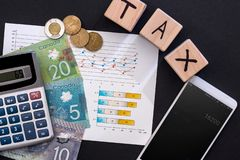 Концепция обложения с канадским долларом, диаграммой дела и телефоном стоковое изображение