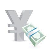 Концепция обменом счетов валюты иен иллюстрация вектора
