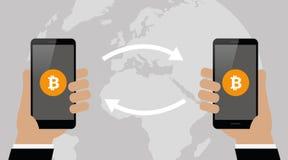 Концепция обменом Bitcoin по всему миру мобильная креня технологии cryptocurrency бесплатная иллюстрация