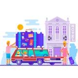 Концепция образа жизни перемещения сына матери отца семьи туризма летних каникулов планирования и вектора символа путешествием Стоковые Фото