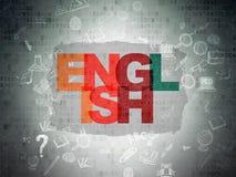 Концепция образования: Английский язык на бумаге цифров Стоковые Изображения RF