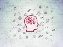Концепция образования: Голова с символом финансов дальше Стоковые Фото