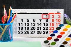 Концепция образования, первое -го сентябрь или назад к школы Стоковая Фотография