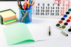 Концепция образования, первое -го сентябрь или назад к школы Стоковые Фото