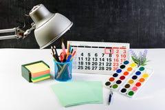 Концепция образования, первое -го сентябрь или назад к школы w Стоковые Фотографии RF