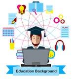 Концепция образования с значками студента и образования средней школы Стоковые Изображения RF
