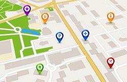 Концепция обслуживания GPS карты города перспективы дизайн карты города 3d Стоковое Изображение