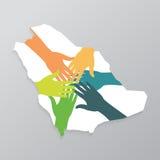 Концепция общества Саудовской Аравии, рука об руку построить новое будущее также вектор иллюстрации притяжки corel Стоковая Фотография RF