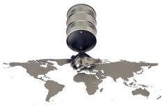 Концепция добычи нефти Сырая нефть разлитая в форме земли иллюстрация вектора
