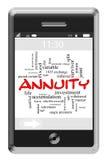 Концепция облака слова аннуитета на телефоне сенсорного экрана бесплатная иллюстрация