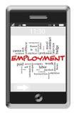 Концепция облака слова занятости на телефоне сенсорного экрана иллюстрация вектора