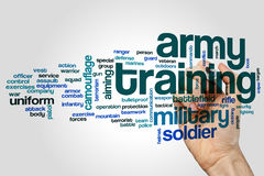 Концепция облака слова тренировки армии на серой предпосылке Стоковое Фото