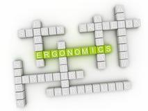 концепция облака слова эргономики 3d Стоковая Фотография
