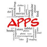 Концепция облака слова Apps в красных крышках бесплатная иллюстрация
