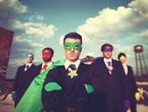 Концепция доверия команды супергероя бизнесменов Стоковые Фотографии RF