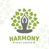 Концепция логотипа дерева йоги вектора Дизайн insignia сработанности Иллюстрация здоровья разбивочная бесплатная иллюстрация