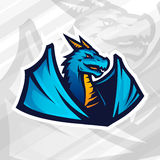 Концепция логотипа дракона Дизайн талисмана футбола или бейсбола Insignia лиги коллежа, вектор команды школы Стоковые Фотографии RF