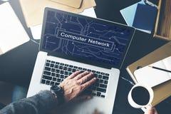 Концепция локальных сетей сервера сетевого подключения компьютера Стоковые Изображения RF