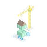 Концепция дома здания равновеликий вектор 3d Стоковые Изображения RF