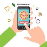 Концепция онлайновой службы заказа пиццы Стоковое Изображение