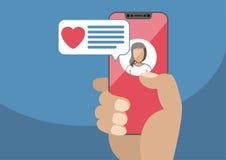 Концепция онлайн датировка и передвижной болтовни app Мужская рука держа современной бесплатная иллюстрация