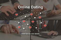 Концепция онлайн датировка стоковые фото