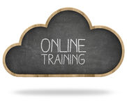 Концепция онлайн обучения и облака вычисляя стоковая фотография