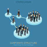 Концепция организационной схемы плоской равновеликой сети 3d infographic Стоковые Фото
