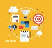 Концепция достижения дела Дизайн воодушевленности с значками в плоском стиле Концепция успеха - иллюстрация Стоковая Фотография