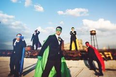 Концепция достижения пляжа супергероев дела стоковое фото