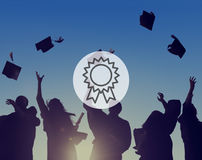 Концепция достижения успеха победы вознаграждением значка призовая стоковое изображение rf