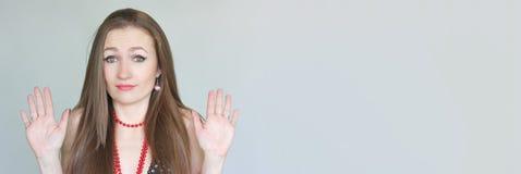 Концепция отказа портрет девушки с Стоковые Изображения