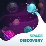 Концепция открытия космоса, быстрое начало космического корабля Предпосылка космоса фантазии с планетами и ракетой стоковая фотография rf