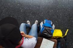 Концепция отключения путешествием путешественника Стоковые Фото