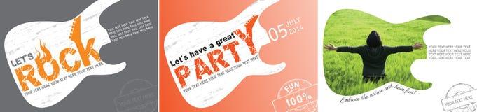 Концепция партии и окружающей среды с гитарой стоковое фото