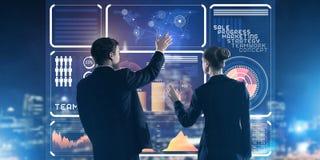 Концепция партнерства и сотрудничества при люди используя виртуальный интерфейс Стоковая Фотография