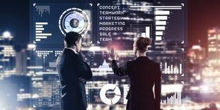 Концепция партнерства и сотрудничества с использованием людей виртуальным Стоковая Фотография