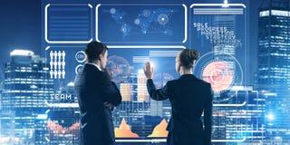 Концепция партнерства и сотрудничества при люди используя виртуальный интерфейс Стоковое Фото