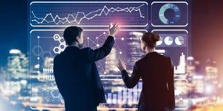 Концепция партнерства и сотрудничества с использованием людей виртуальным Стоковое Изображение