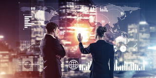Концепция партнерства и сотрудничества с использованием людей виртуальным Стоковые Изображения
