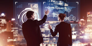 Концепция партнерства и сотрудничества с использованием людей виртуальным Стоковая Фотография RF