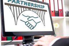 Концепция партнерства на экране компьютера Стоковое Изображение