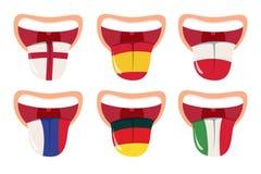 Концепция перевода иностранных языков, онлайн переводчик, открытый рот с языком с национальными флагами иллюстрация штока